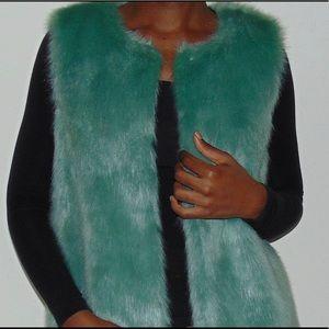 Other - Green Faux Fur Vest